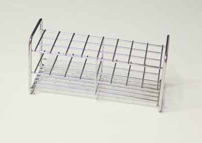 Stainless steel rack, 24 tubes of 13 mm